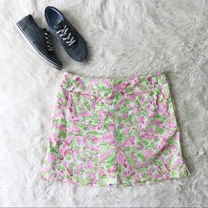 Lizgolf green and pink floral print golf skirt